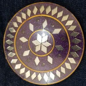 Diamond Pattern Jewel Tone Compact Mirror - with B